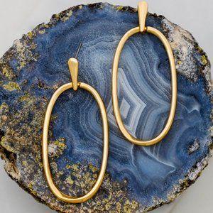 NEW Gold Skinny Oval Door Knocker Hoop Earrings